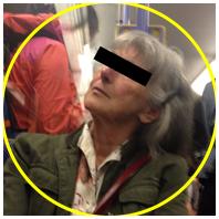 Dame in der Bahn